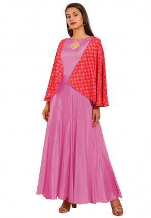 Embroidered Chinon Crepe Gown in Pink