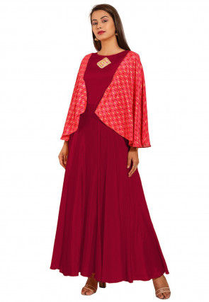 Embroidered Chinon Crepe Gown in Maroon