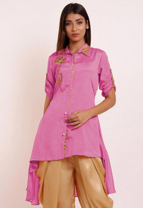 Embroidered Chinon Crepe High Low Kurti in Light Pink