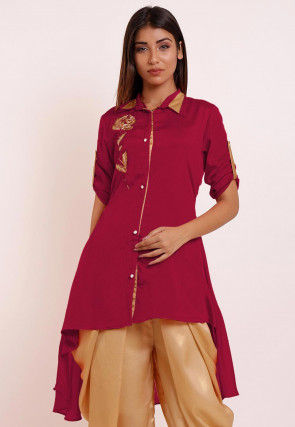 Embroidered Chinon Crepe High Low Kurti in Magenta