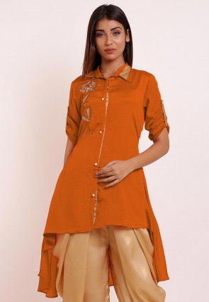 Embroidered Chinon Crepe High Low Kurti in Mustard