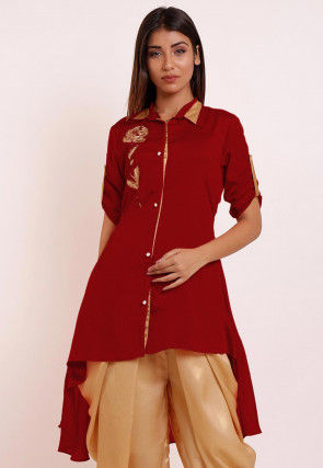 Embroidered Chinon Crepe High Low Kurti in Red