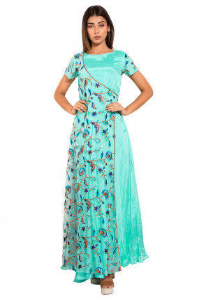Embroidered Chinon Crepe Kurta in Light Teal Blue