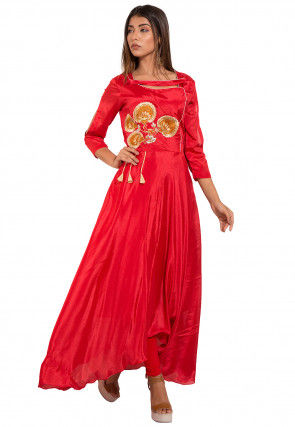 Embroidered Chinon Crepe Kurta Set in Red