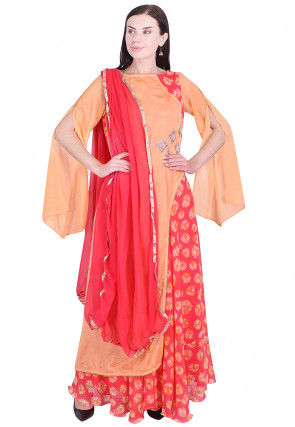 Embroidered Chinon Crepe Layered Abaya Style Suit in  Orange and Pink