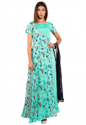 Embroidered Chinon Crepe Layered Abaya Style Suit in Turquoise