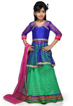 Embroidered Chinon Viscose Lehenga Set in Light Green