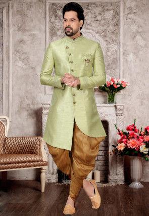 Embroidered Collar Art Silk Asymmetric Dhoti Sherwani in Pastel Green
