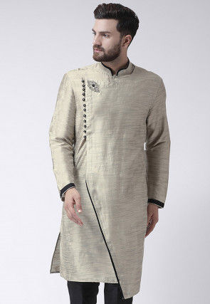 Embroidered Collar Art Silk Asymmetric Kurta in Light Grey