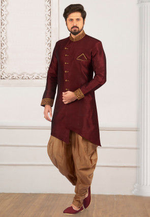 Embroidered Collar Art Silk Asymmetric Sherwani in Maroon