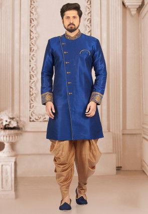 Embroidered Collar Art Silk Asymmetric Sherwani in Royal Blue