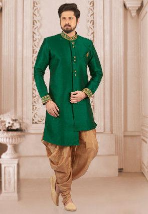 Embroidered Collar Art Silk Asymmetric Sherwani in Teal Green