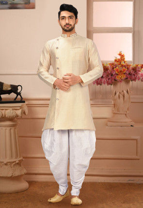 Embroidered Collar Art Silk Dhoti Kurta in Light Beige