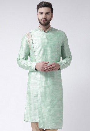 Embroidered Collar Art Silk High Low Kurta in Sea Green