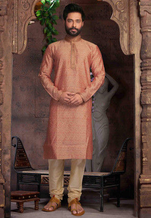 Embroidered Collar Art Silk Jacquard Kurta Set in Peach
