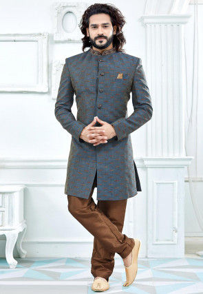 Embroidered Collar Art Silk Jacquard Sherwani in Grey