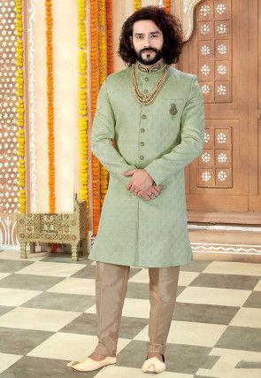 Embroidered Collar Art Silk Jacquard Sherwani in Pastel Green
