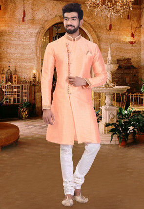 Embroidered Collar Art Silk Sherwani in Peach