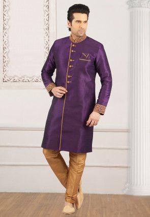 Embroidered Collar Art Silk Sherwani in Purple