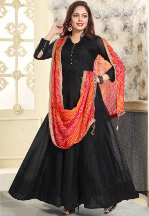 Embroidered Collar Chanderi Silk Abaya Style Suit in Black