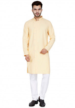 Embroidered Collar Cotton Kurta Set in Light Yellow