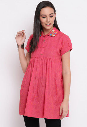 Embroidered Collar Cotton Pleated Tunic in Dark Pink