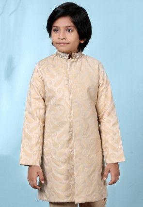 Embroidered Collar Cotton Silk Jacquard Sherwani in Beige