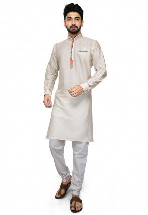 Embroidered Collar Cotton Silk Kurta Set in Off White