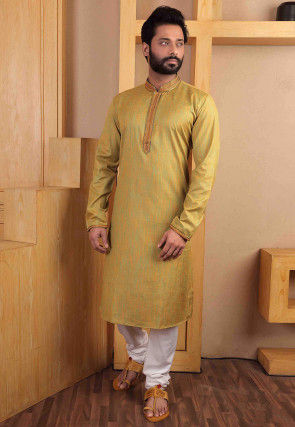 Embroidered Collar Cotton Slub Kurta Set in Light Mustard