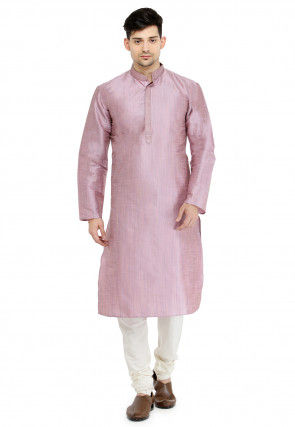 Embroidered Collar Dupion Silk Kurta Set in Old Rose