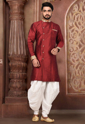 Embroidered Collar Dupion Silk Sherwani in Maroon
