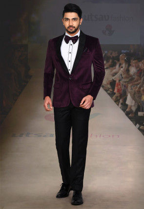 Embroidered Collar Suede Tuxedo Set in Purple