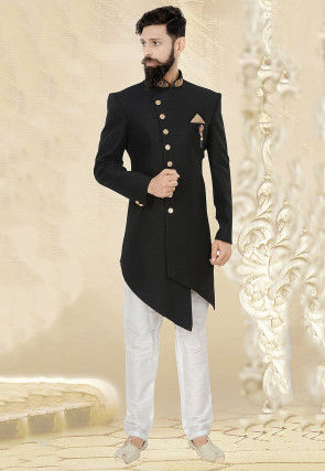 Embroidered Collar Terry Rayon Asymmetric Sherwani in Black