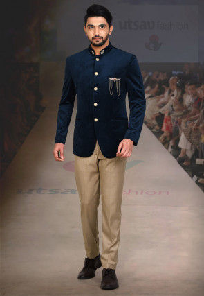 Embroidered Collar Velvet Jodhpuri Suit in Navy Blue