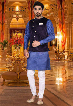 Embroidered Collar Velvet Nehru Jacket in Violet