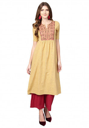 Embroidered Cotton A Line Kurta in Beige