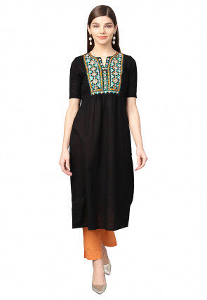 Embroidered Cotton A Line Kurta in Black