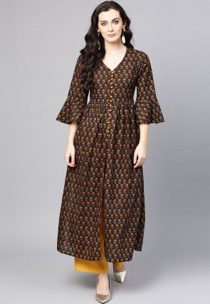 Embroidered Cotton A Line Kurta in Brown