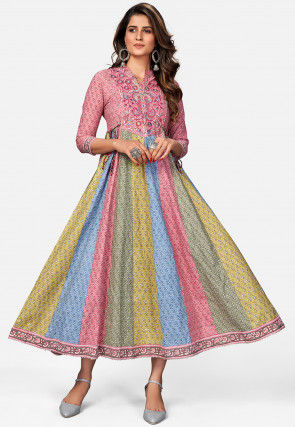 Embroidered Cotton A Line Kurta in Multicolor and Pink