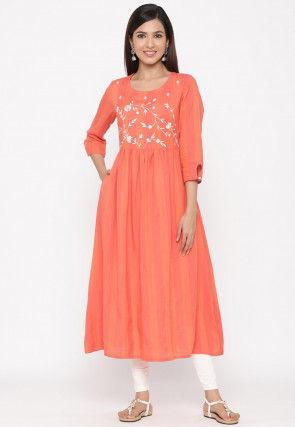 Embroidered Cotton A Line Kurta in Orange