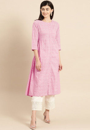 Embroidered Cotton A Line Kurta in Pink