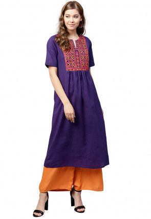Embroidered Cotton A Line Kurta in Purple