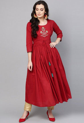 Embroidered Cotton A Line Kurta in Red
