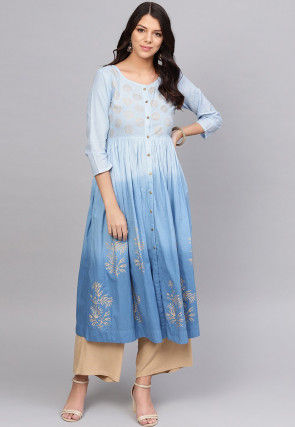 Embroidered Cotton A Line Kurta in Shaded Blue