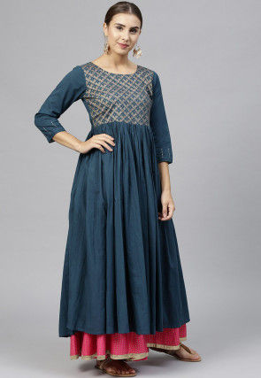 Embroidered Cotton A Line Kurta in Teal Blue