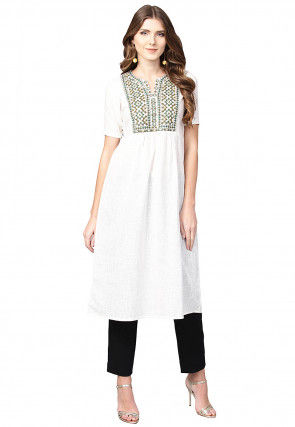 Embroidered Cotton A Line Kurta in White