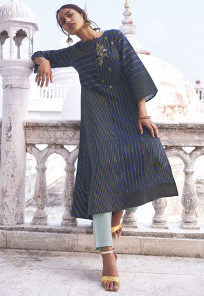 Embroidered Cotton A Line Kurta Set in Navy Blue