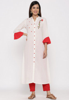 Embroidered Cotton A Line Kurta Set in Off White