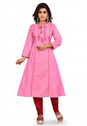 Embroidered Cotton A Line Kurta Set in Pink