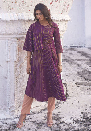 Embroidered Cotton A Line Kurta Set in Purple